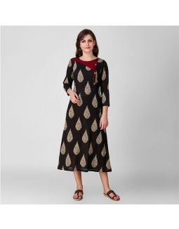 Black Kalamkari Dress with Button Pattern
