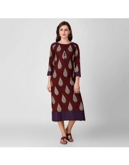 Maroon Kalamkari Dress with Front Button