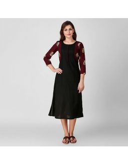 Black and Maroon Applique Kurta