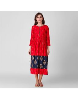 Red and Blue Gathered Dress