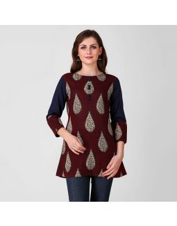 Maroon and Blue Kalamkari Tunic