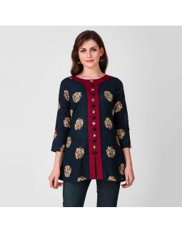 Blue and Maroon Front Button Tunic