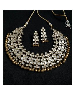 Flower Kundan Silver Necklace Set