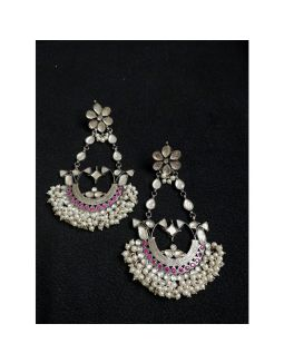 Pink Kundan Pearl Earrings