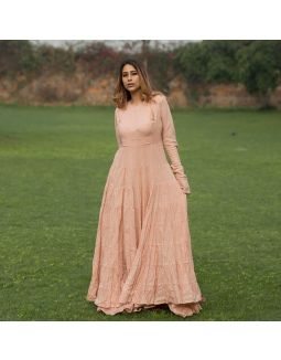 Blush Anarkali with Gotta Skirt