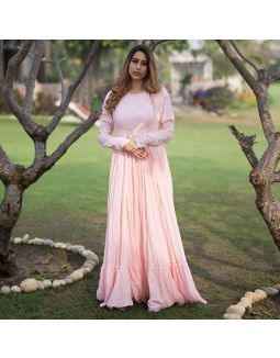 Baby Pink Anarkali with Hemline