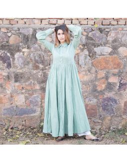 Sea Green Front Tuck and Collar Dress