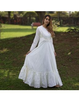 Ivory Angrakha Anarkali with Izar Pants