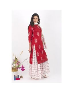 Red and White Sharara Set