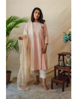 Peach Striped Kurta Set paired with Embroidered Dupatta