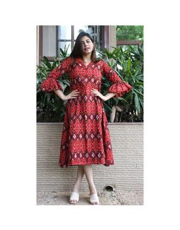 Ikat Handloom Bell Sleeves Dress