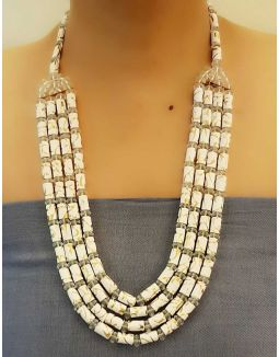 White and Gold Multi Layer Necklace Set