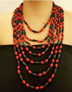 Red and Black Multilayer Necklace