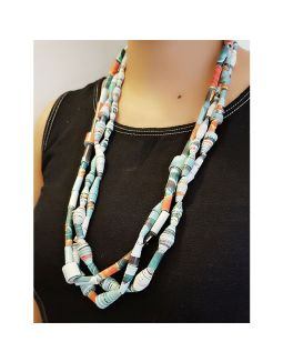 Paper Bead Blue Necklace
