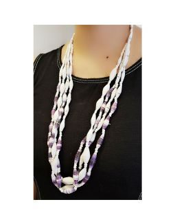White and Purple Paper Bead Necklace
