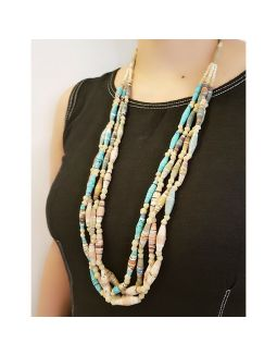 Four Layered Paper Bead Necklace