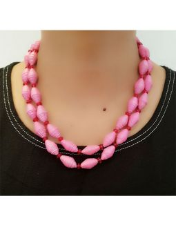 Pink Big Paper Bead Necklace