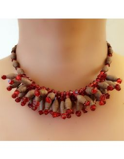 Red and Brown Paper Bead Necklace