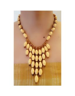 Yellow Multi Layered Paper Bead Necklace