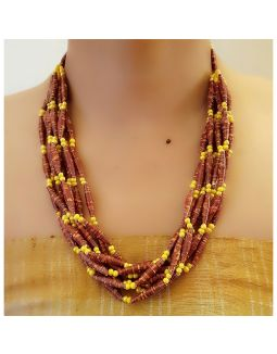 Yellow and Brown Paper Bead Necklace