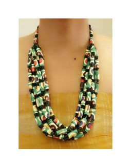 Green Printed Paper Bead Necklace