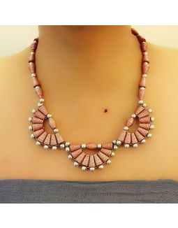 Pink Half Flower Necklace Set