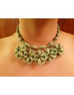 Golden Green Flower Necklace