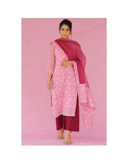 Pink and Purple Kurta Palazzo Set