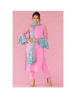 Pink and Teal Kurta Pants Set