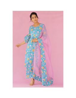 Teal Floral Printed Kurta and Pants Set