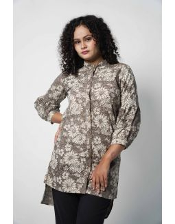 Grey High-Low Kurta