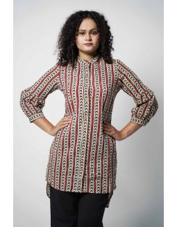 Off white & Maroon High-low Kurta