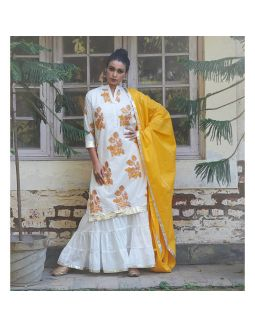 White and Yellow Floral Sharara Set