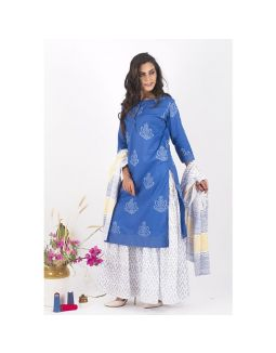 Blue and White Sharara Set
