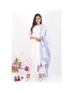 White Kurta and Pants Set with Light Blue Dupatta