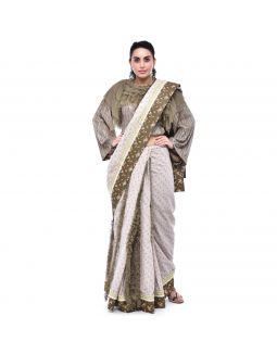 Off White Floral Printed Ruffle Saree