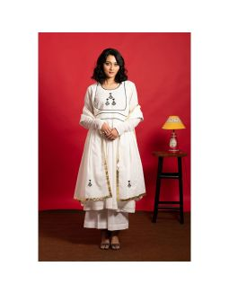 Ivory Anarkali Embroidered Kurta Palazzo Set