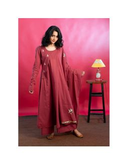 Maroon Flared Embroidered Kurta Palazzo Set