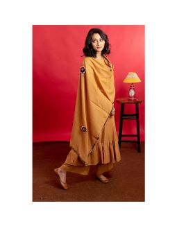 Mustard Brown Frock Style Hand Embroidered Kurta Palazzo Set