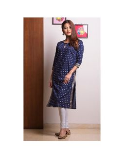 Blue Golden Printed Kurta