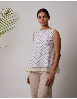 Skyblue Checkered Lace Top
