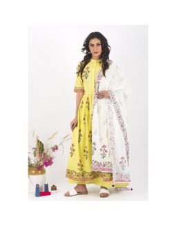 White and Yellow Floral Anarkali Set