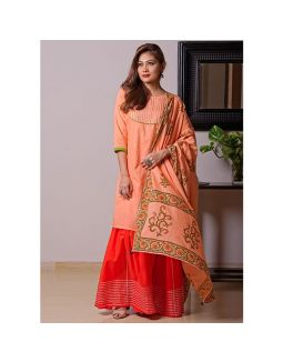 Orange and Red Sharara Set with Dupatta