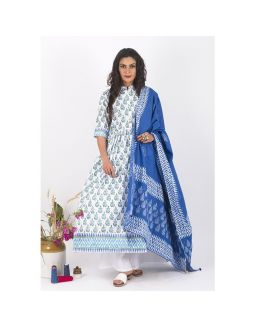 White and Blue Hand Block Printed Anarkali Set