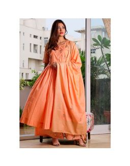 Peach Anarkali Set with Dupatta