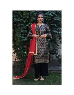 Black Golden Printed Suit Set
