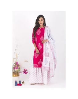 Pink and White Sharara Set