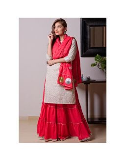 White Kurta Red Skirt Set with Dupatta