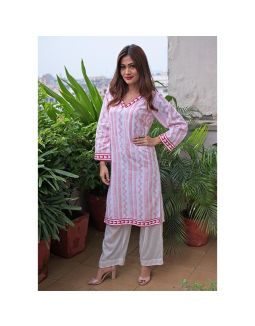 White and Red Block Printed Kurta