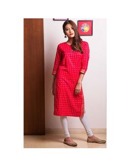 Red Golden Printed Kurta